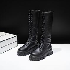 Women's PU Chunky Heel Boots Knee High Boots High Top With Lace-up Solid Color shoes