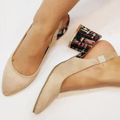 Women's PU Stiletto Heel Pumps Closed Toe With Elastic Band shoes