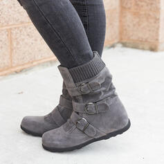 Women's Suede Flat Heel Snow Boots Round Toe With Buckle Zipper Solid Color shoes