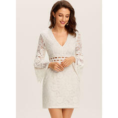 Lace/Solid Long Sleeves/Flare Sleeves Sheath Above Knee Casual/Vacation Dresses