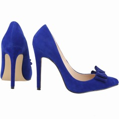Women's Suede Stiletto Heel Pumps Closed Toe With Bowknot shoes