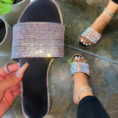 Women's Leatherette Flat Heel Sandals Flats Peep Toe Slippers With Rhinestone Hollow-out shoes