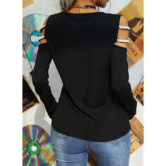 Print Beaded Cold Shoulder Long Sleeves Casual Blouses