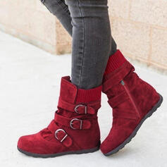 Women's PU Flat Heel Boots Ankle Boots Snow Boots Winter Boots With Buckle shoes