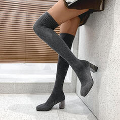 Women's Suede Chunky Heel Over The Knee Boots Square Toe Sock Boots With Elastic Band Solid Color shoes