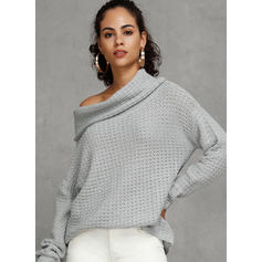 Solid Waffle Knit One Shoulder Casual Sweaters
