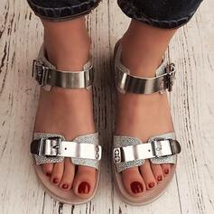 Women's PU Flat Heel Sandals Peep Toe With Buckle shoes