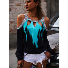 Print Sequins Cold Shoulder Long Sleeves Casual Blouses