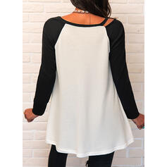 Color Block Beaded V-Neck Long Sleeves Casual Knit Blouses