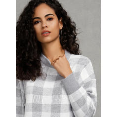 Grid Round Neck Casual Sweater Dress