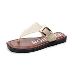 Women's Leatherette PU Flat Heel Sandals Flats Peep Toe Flip-Flops Slippers With Buckle Solid Color shoes