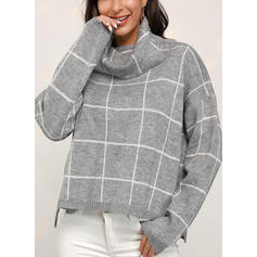 Grid Chunky knit Turtleneck Casual Sweaters