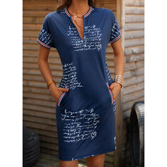 Print/Letter Short Sleeves Bodycon Knee Length Casual Pencil Dresses