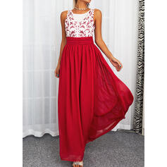 Solid Sleeveless A-line Party Maxi Dresses