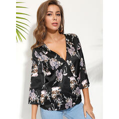 Print Floral V-Neck Long Sleeves Casual Blouses