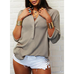 Solid Lapel Long Sleeves Casual Shirt Blouses