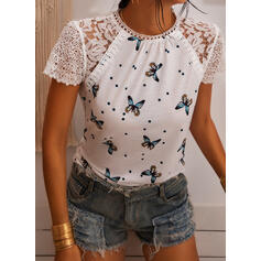 Print Patchwork Lace PolkaDot Round Neck Short Sleeves Casual Blouses
