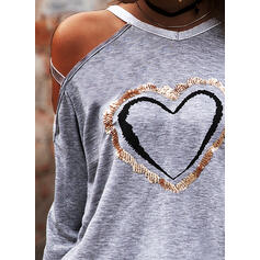 Sequins Heart Cold Shoulder Long Sleeves Casual Sexy Blouses