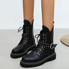 Women's PU Chunky Heel Ankle Boots Martin Boots Round Toe With Rivet Buckle shoes