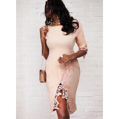 Lace/Solid 3/4 Sleeves Bodycon Knee Length Elegant Pencil Dresses