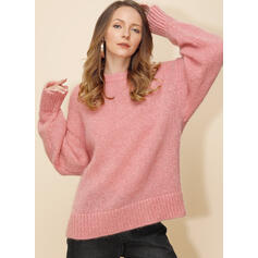 Solid Chunky knit Round Neck Oversized Casual Sweaters