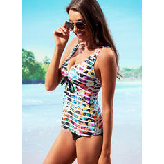 Floral Strap V-Neck Sexy Plus Size Tankinis Swimsuits