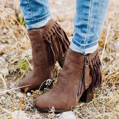 Women's Leatherette Chunky Heel Boots Ankle Boots Pointed Toe With Tassel shoes