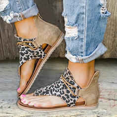Women's Leatherette Fabric Flat Heel Sandals With Animal Print Zipper shoes