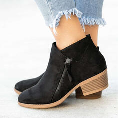 Women's PU Chunky Heel Ankle Boots Pointed Toe With Zipper Solid Color shoes