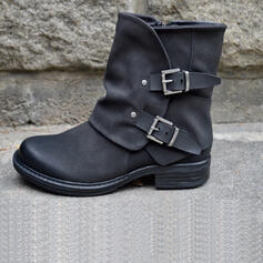 Women's Leatherette Flat Heel Martin Boots Round Toe With Buckle Solid Color shoes