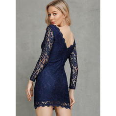 Lace/Solid/Backless Long Sleeves Bodycon Knee Length Sexy/Party/Elegant Dresses