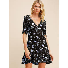 Print/Floral Short Sleeves A-line Above Knee Casual/Party/Boho/Vacation Skater Dresses