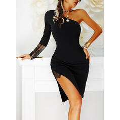Lace/Solid Long Sleeves Sheath Knee Length Little Black/Party/Elegant Dresses