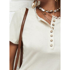 Solid Round Neck Short Sleeves Button Up Casual Blouses