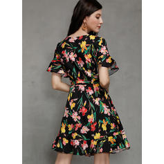 Print/Floral Short Sleeves/Flare Sleeves A-line Above Knee Casual/Boho/Vacation Wrap/Skater Dresses