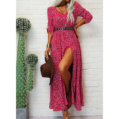 Print 1/2 Sleeves A-line Skater Casual/Vacation Maxi Dresses