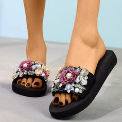 Women's Cloth Flat Heel Slippers With Imitation Pearl Flower shoes