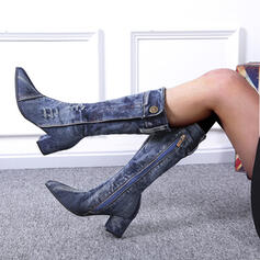 Women's Denim Mid-Calf Boots Pointed Toe With Others shoes