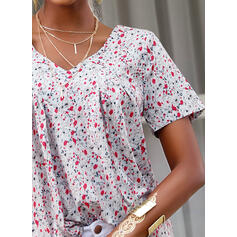 Floral V-Neck Short Sleeves Casual Blouses