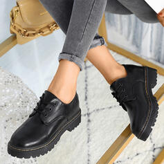 Women's Leatherette Low Heel Round Toe With Lace-up shoes