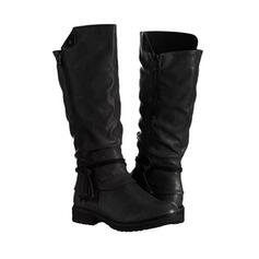 Women's Leatherette Chunky Heel Boots Mid-Calf Boots With Zipper Lace-up shoes