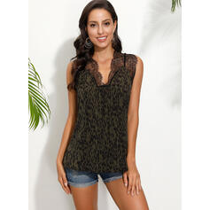 Lace Leopard V-Neck Sleeveless Casual Sexy Blouses