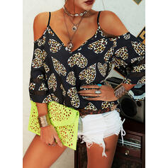 Print Leopard Heart Cold Shoulder 3/4 Sleeves Casual Blouses