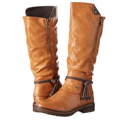 Women's PU Low Heel Knee High Boots Riding Boots Round Toe With Zipper Lace-up shoes