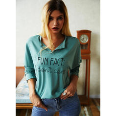 Print Figure V-Neck Long Sleeves Casual Blouses