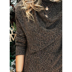 Solid Turtleneck Casual Asymmetrical Sweaters