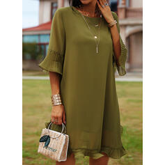 Solid 3/4 Sleeves/Flare Sleeves Shift Above Knee Casual/Elegant Tunic Dresses