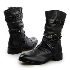 Women's Leatherette Low Heel Boots With Rivet Buckle Ruffles shoes
