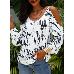 Print Cold Shoulder Long Sleeves Casual Knit Blouses