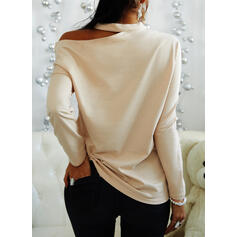 Solid One-Shoulder Long Sleeves Casual Blouses